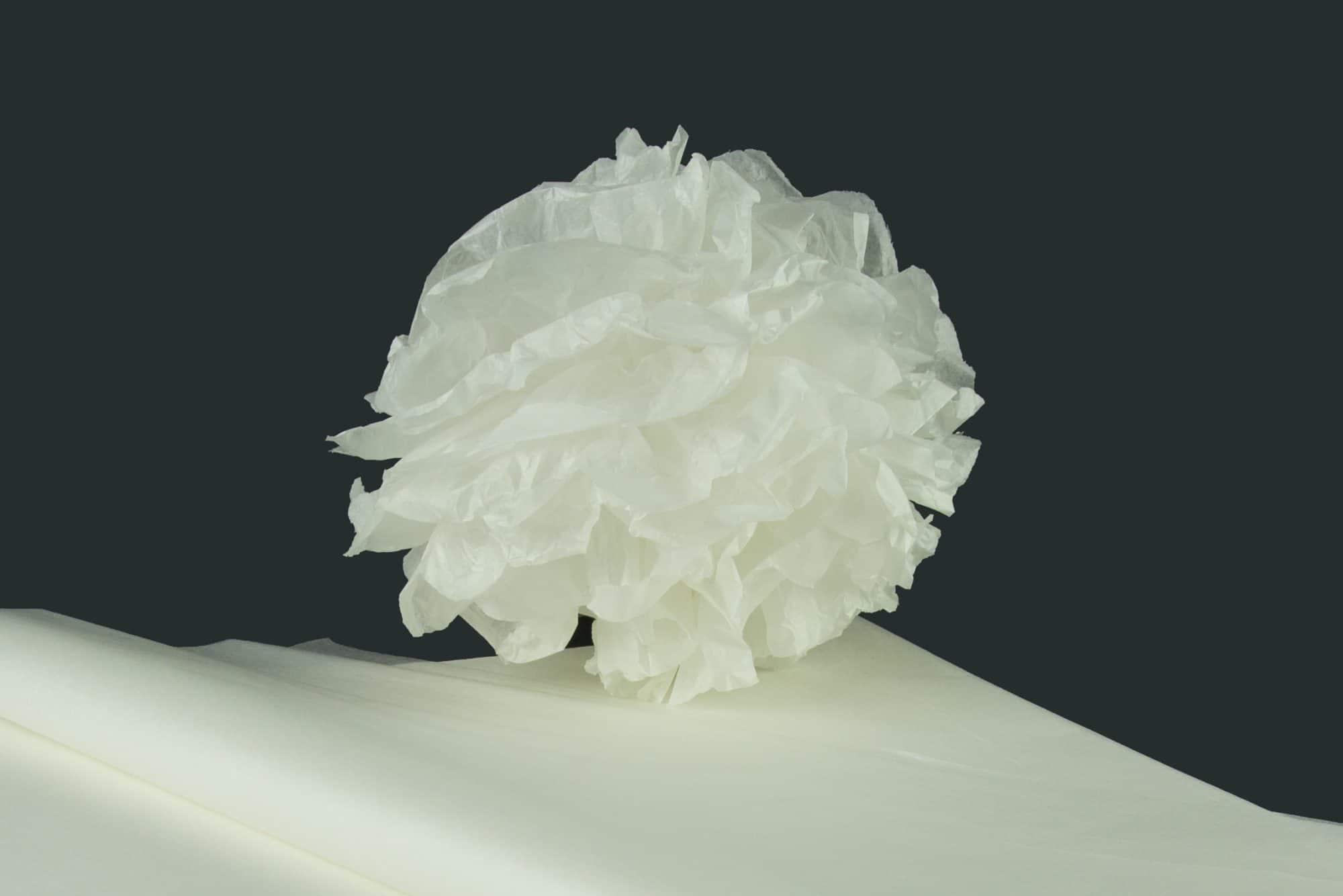 kit pompons en papier de soie qualit nacr blanc. Black Bedroom Furniture Sets. Home Design Ideas