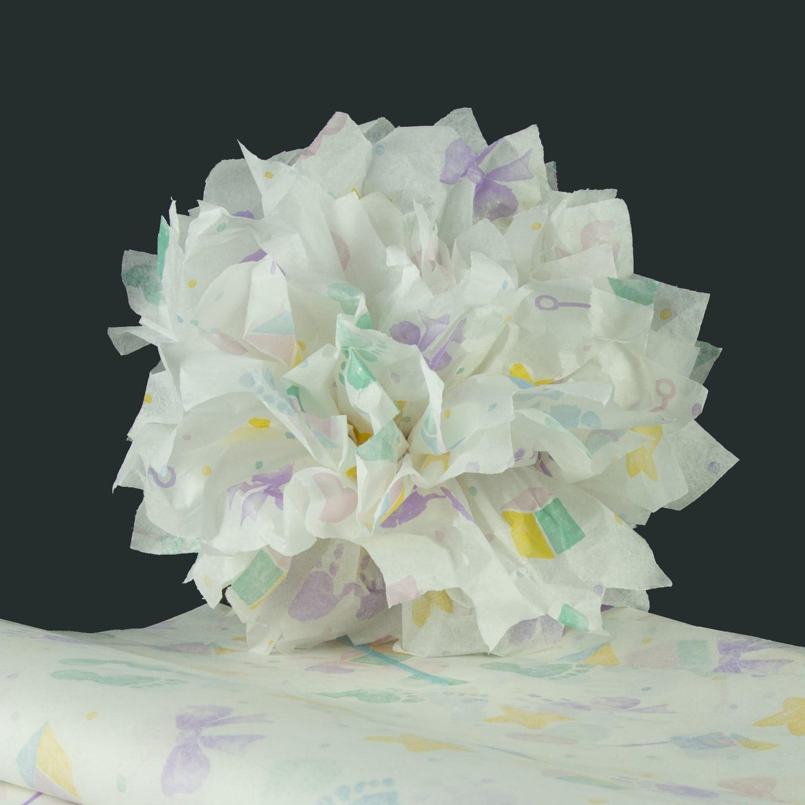 kit pompons en papier de soie imprim all occasions baby print papier de soie. Black Bedroom Furniture Sets. Home Design Ideas